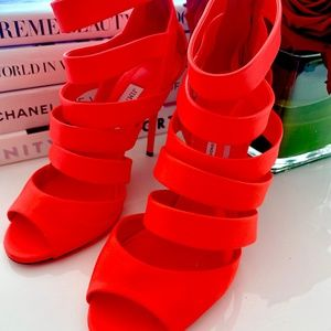 Jimmy Choo Dame Caged Neon Orange Leather Sandals